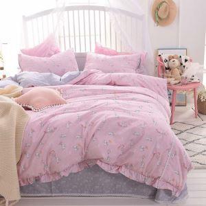 Korean Princess Style Bedding Set Pink Rabbit Pattern Bedclothes Brathable Cotton 4pcs Duvet Cover Set