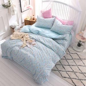 Korean Style Bedding Set Blue Flower Pattern Bedclothes Modern Lace 4pcs Duvet Cover Set