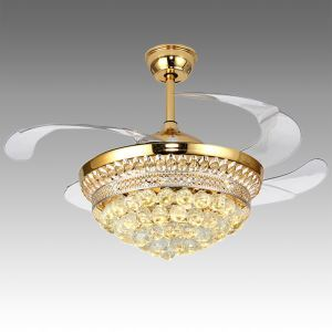 Modern Ceiling Fan Light Mute Fan Light Exquisite Small Crystals Decoration Light with Remote Control