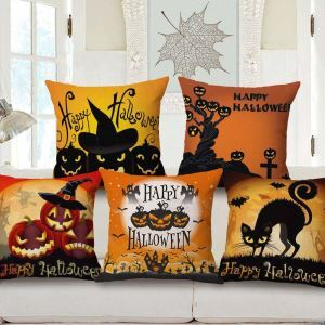 Horrible Pumpkin Pattern Pillow Cover Halloween Theme Cotton Flax Pillow Case