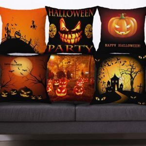 Hallow Theme Pillow Cover Horrible Pumpkin Cotton Flax Pillow Case