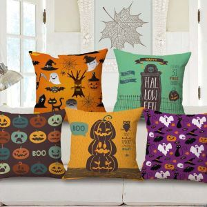 Halloween Theme Pillow Cover Personalized Odd Environmental Friendly Cotton and Flax Pillow Case