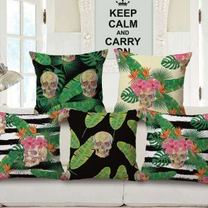 Creative Odd Pillow Cover Personalized Skull Flax Pillow Case