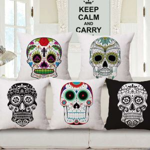 Halloween Theme Pillow Cover Personalized Creatrive Skull Cotton and Flax Pillow Case