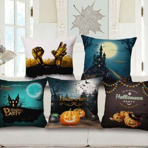 Halloween Theme Pillow Cover Horrible Scene Pillow Cover Environmental Friendly Cotton and Flax Pillow Case