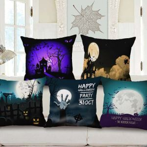 Halloween Night Pillow Cover Horrible Theme Flax Pillow Case