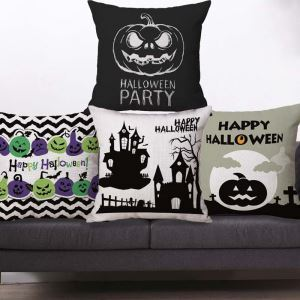 Horrible Pumpkin Pillow Cover Halloween Theme Flax Pillow Case
