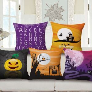 Halloween Theme Pillow Cover Personalized Pattern Flax Pillow Case