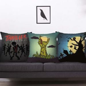Horrible Halloween Theme Pillow Cover Soft Flax Pillow Case
