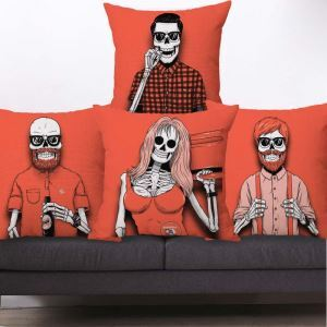 Creative Popular Pillow Cover Personalized Skull Flax Cotton Pillow Case