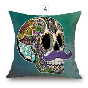Creative Odd Pillow Cover Personalized Skull Cotton Flax Pillow Case