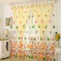 Rural Romantic Sheer Curtain Colorful Butterflies Printing Sheer Curtain Environmental Protected Breathable Fabric (One Panel)