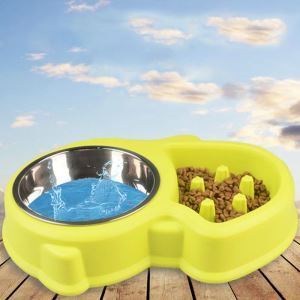 Pet Double Bowl Dog Anti Choking Bowl Tidy Slowly Eating Bowl Food and Water Bowl