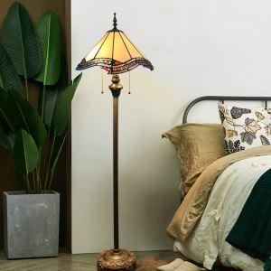 Tiffany Floor Lamp Handmade Colorful Standard Lamp with Irregular Edge