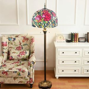 Tiffany Floor Lamp Handmade Colorful Blooming Rose Pattern Standard Lamp