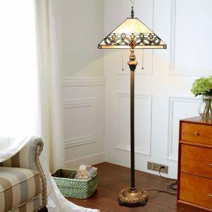 Tiffany Floor Lamp Handmade Colorful Umbrella Shade Standard Lamp