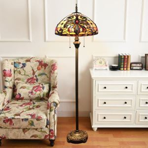 Tiffany Floor Lamp Handmade Colorful Moth Pattern Standard Lamp