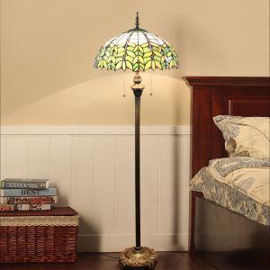 Tiffany Floor Lamp Handmade Colorful Fresh Leaves Pattern Standard Lamp