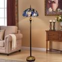 Tiffany Floor Lamp Handmade Colorful Unique Blue Shade Standard Lamp