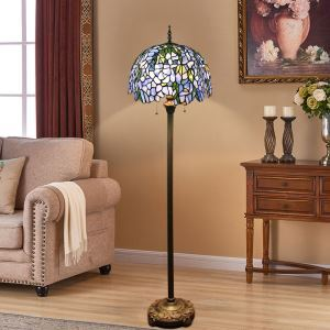 Tiffany Floor Lamp Handmade Colorful Standard Lamp with Purple and White Shade