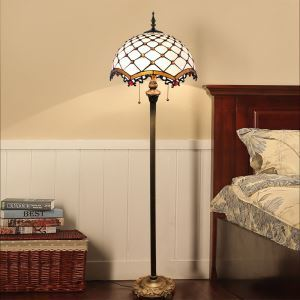 Tiffany Floor Lamp Handmade White Check Pattern Standard Lamp