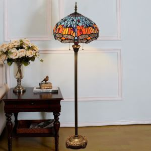 Tiffany Floor Lamp Handmade Colorful Standard Lamp Dragonfly with Grey Wings