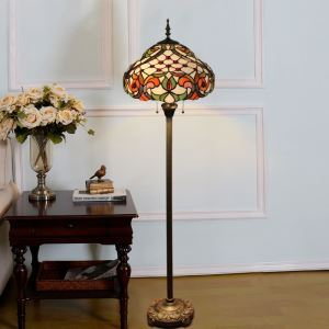 Tiffany Floor Lamp Handmade Colorful Curled Leaf Pattern Standard Lamp