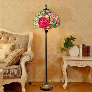 Tiffany Floor Lamp Handmade Colorful Large Flower Pattern Standard Lamp