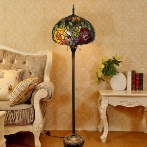 Tiffany Floor Lamp Handmade Colorful Ball Shape Flower Pattern Standard Lamp