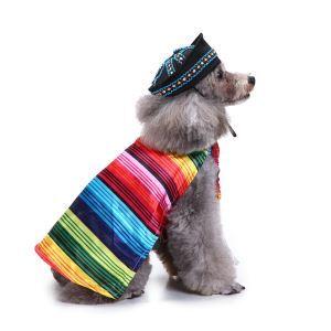 Dog Clothes Creative Christmas Dog Dress Colorful Stripes Clothes