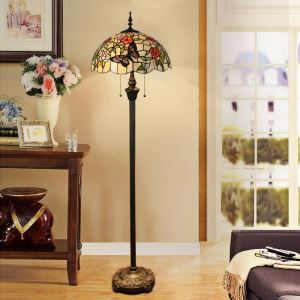 Tiffany Floor Lamp Handmade Colorful Butterfly Rose Pattern Standard Lamp
