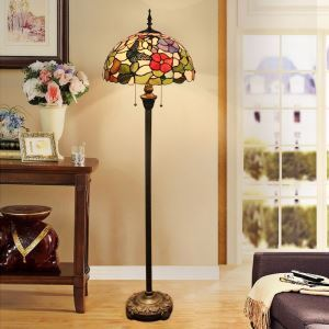 Tiffany Floor Lamp Handmade Colorful Butterfly Flower Pattern Standard Lamp