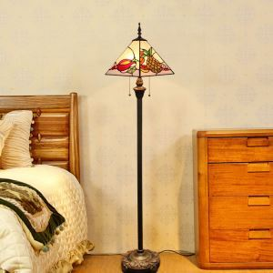 Tiffany Floor Lamp Handmade Colorful Tetrahedron Shade Standard Lamp