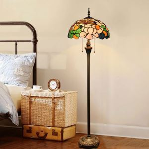 Tiffany Floor Lamp Handmade Colorful Dragonfly Flower Pattern Standard Lamp