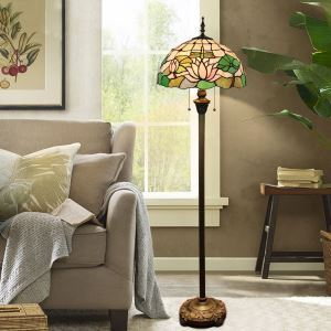 Tiffany Floor Lamp Handmade Colorful Lotus Pattern Standard Lamp