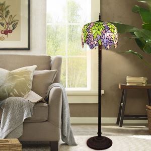 Tiffany Floor Lamp Handmade Colorful Leaf Pattern Standard Lamp