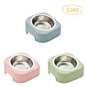 Pet Stainless Steel Bowl Dogs Cats Tilted Bowl