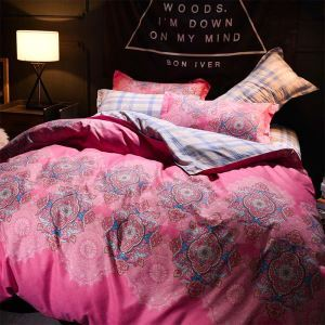French Romantic Bedding Set Pink Printing Bedclothes Breathable 4pcs Duver Cover Sets