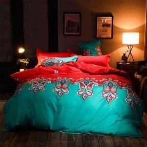 American Contrast Bedding Set Unique Flower Printing Bedclothes Soft 4psc Duver Cover