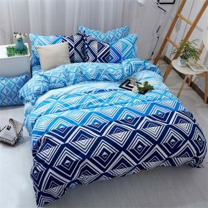 Contemporary Simple Bedding Set Personalized Diamond Pattern Bedclothes Blue Printing 4pcs Duver Cover Sets