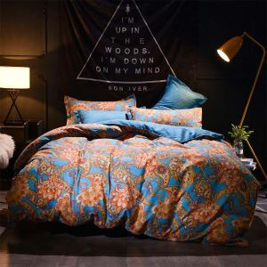 American Abstract Flower Bedding Set Contrast Stripes Bedclothes Soft 4pcs Duver Cover