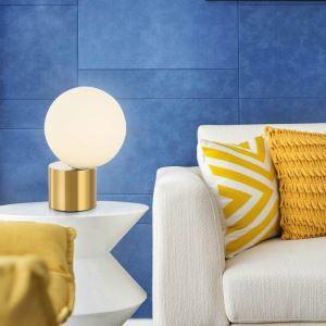 Postmodern Table Lamp Round Glass Ball Table Lamp Golden Base Table Light