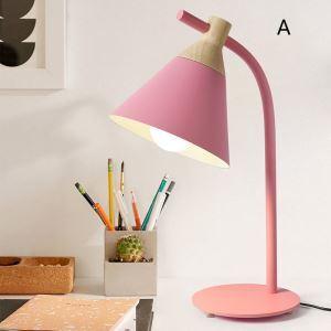 Postmodern Iron Table Lamp Cone Shade Table Lamp Pink/Pinkish Blue/Yellow/Gray Light