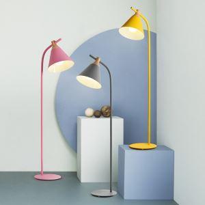 Postmodern Iron Floor Lamp Cone Shade Standard Lamp Pink/Pinkish Blue/Green/Yellow/Gray Light
