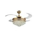 Modern Crystal LED Ceiling Fan with Light Foldable Blades