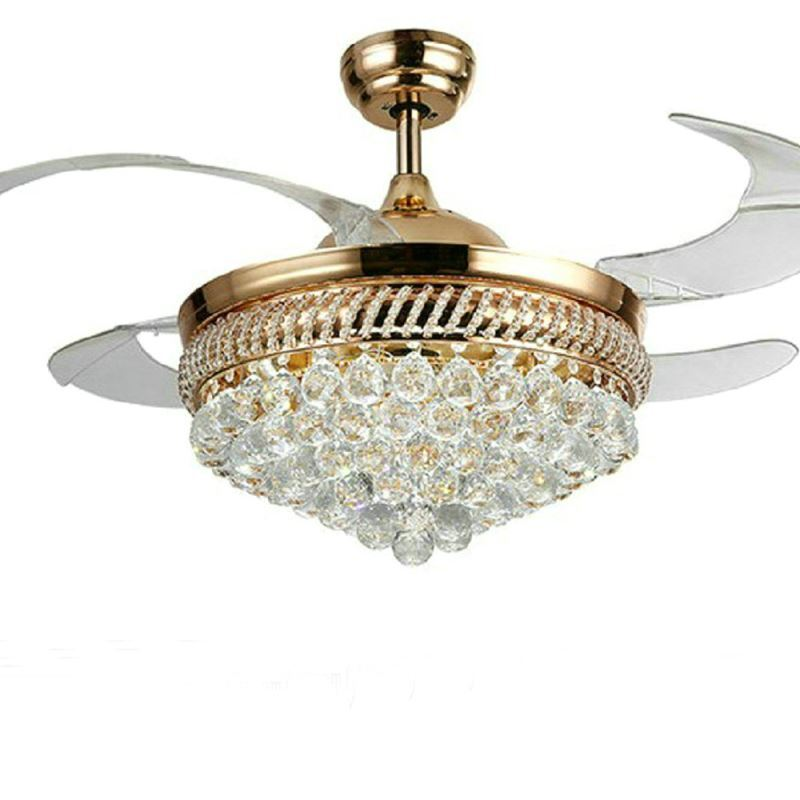 Modern Crystal Led Ceiling Fan Light With Foldable Blades Gold