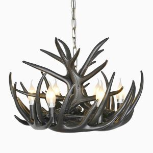 Rustic Cascade Chandelier Antler Chandelier Antler Lighting with 6 Lights Black Chandelier Dining Room Lighting Ideas Lighting Living Room Bedroom Ceiling Lights
