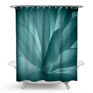 Contemporary Actistic Shower Curtain Succulent Plant 3D Digital Printing Shower Curtain Waterproof Mouldproof Bath Curtain