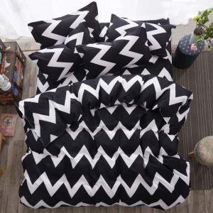 Modern Simple Bedding Set Black and White Wave Pattern Bedclothes Breathable 4pcs Duvet Cover Sets