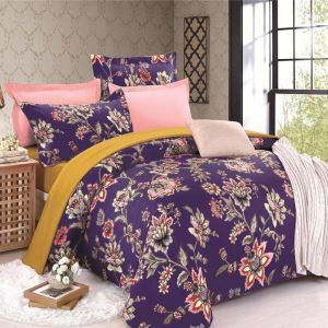 Retro Rural Bedding Set Breathable Bedclothes with Abstract Flower Printing Pattern 4pcs Duvet Cover Sets